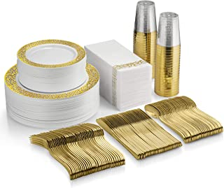 350 Piece Gold Dinnerware Set - 100 Gold Lace Design Plastic Plates - 50 Gold Plastic Silverware - 50 Gold Cups - 50 Linen Like Gold Napkins, 50 Guest Disposable Gold Dinnerware Set