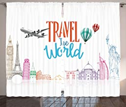 Ambesonne Saying Curtains, Travel The World Lettering with Around World Landmarks Balloons Work of Art Image, Living Room Bedroom Window Drapes 2 Panel Set, 108