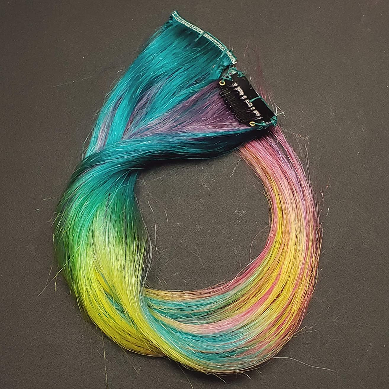 12 inch Enchanted Emerald Rainbow Clip in Human Hair Extensions