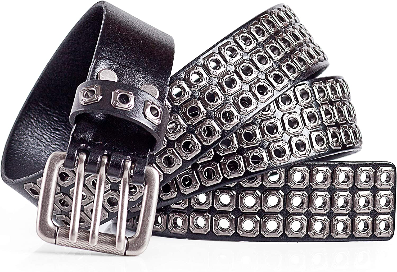 LATICCI Mens Italian Leather Biker Belt with Studs and Triple Pr