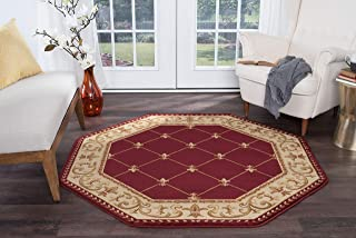 Orleans Traditional Border Red Octagon Area Rug, 8' Octagon