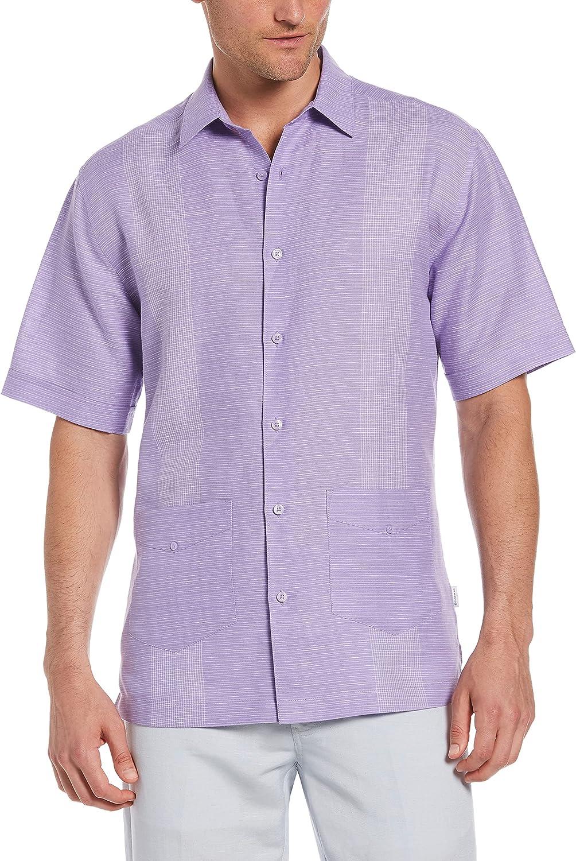 Cubavera Men's Standard Linen-Blend Yarn Dye Stripe Short Sleeve Button-Down Guaybera Shirt
