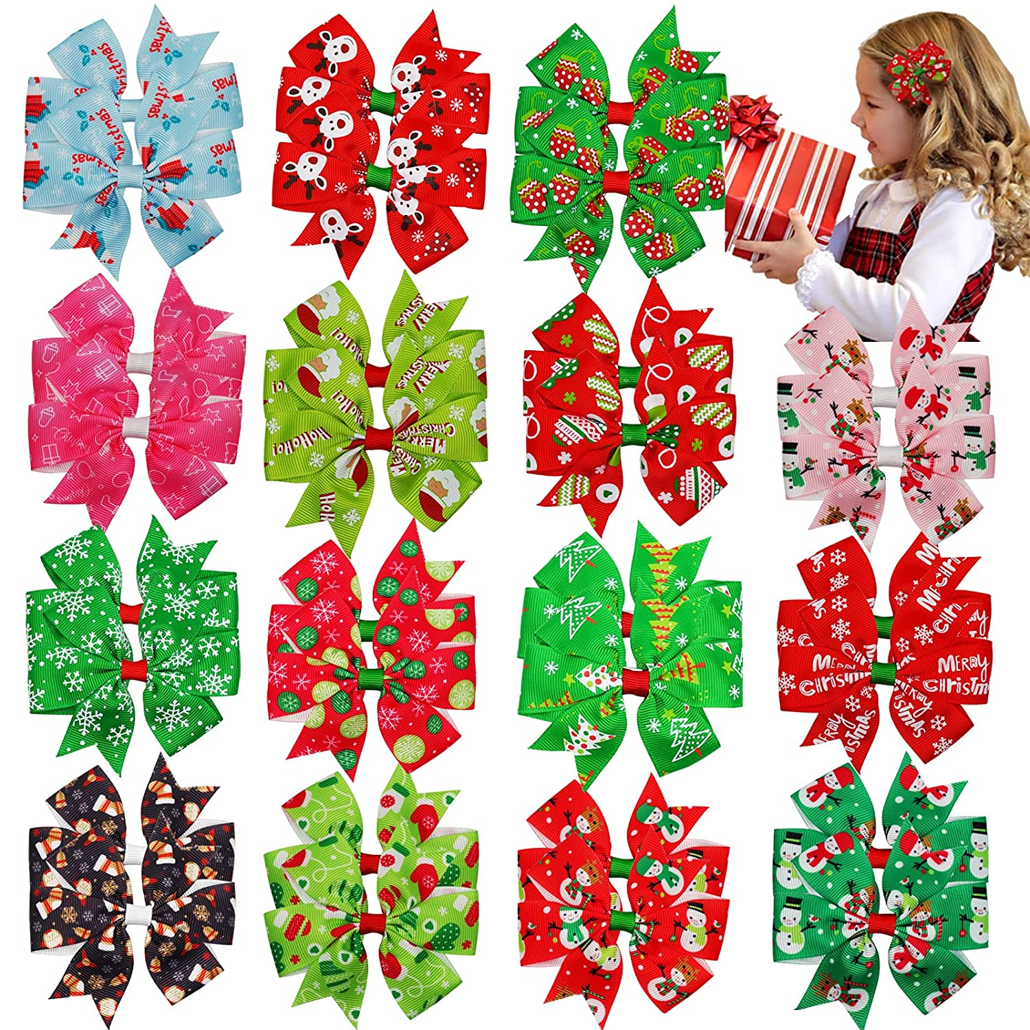 30PCS Christmas Hair Inventory cleanup selling sale Bows Alligator Grosgrain 3Inch Ribbon Rapid rise