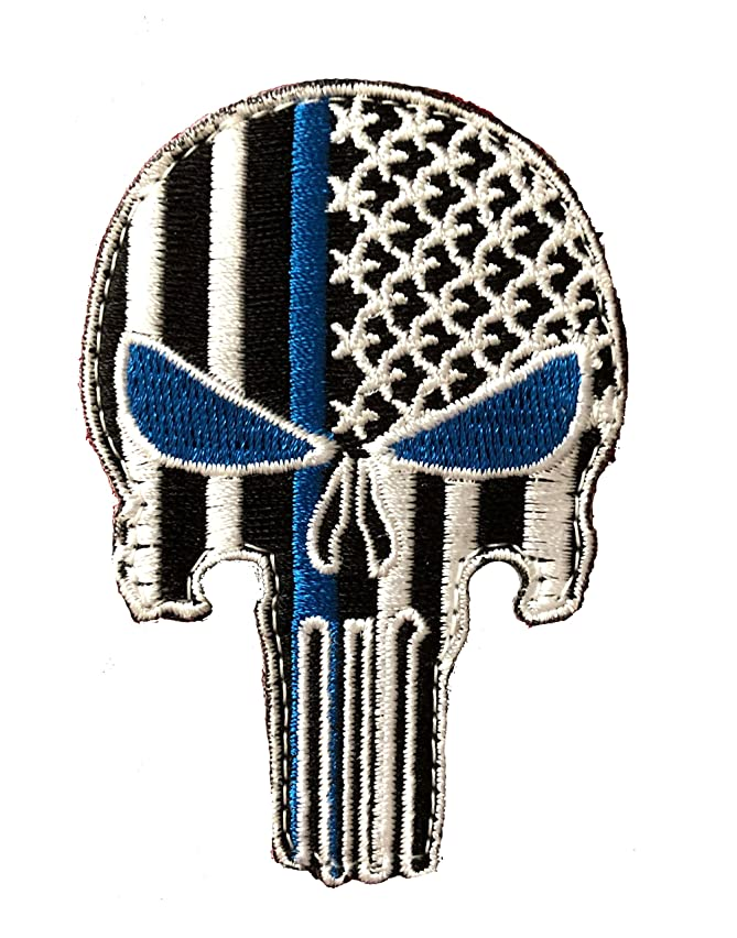 Punisher Blue Eyes Thin Blue Line Morale Patch Police Law Enforcement