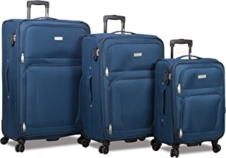 Trek 3-Piece Expandable Spinner Combination Lock Luggage Set-Teal