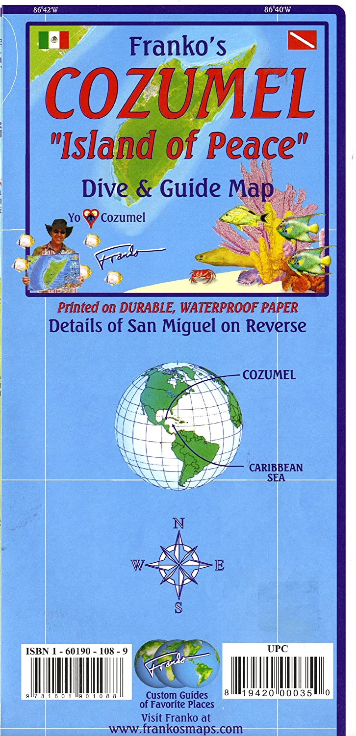 Franko Maps Cozumel Dive Map for Scuba Divers and Snorkelers