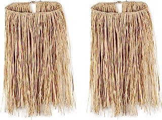 """Beistle S50432NAZ2, 2 Piece Teen Raffia Hula Skirts, 28"""" Waist x 26"""" Length (Natural)"""