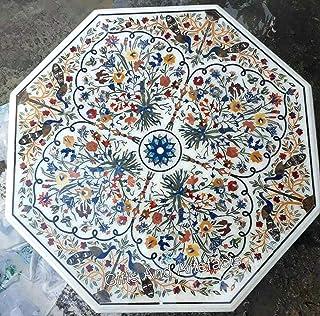 60 pulgadas de mármol blanco mesa de comedor Inlay Art Bar mesa superior con piedras semi preciosas