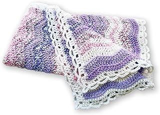 Lavender and White Ripple Crochet Baby Blanket