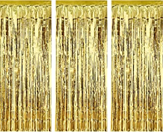 Sumind 3 Pack Metallic Tinsel Curtains, Foil Fringe Shimmer Curtain Door Window Decoration for Birthday Wedding Party (Gold)
