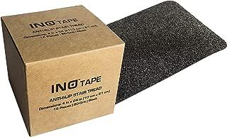 INO Tape Non Slip Adhesive Stair Treads-Indoor, Outdoor anti slip stair treads | 80 Grit, Black, 4