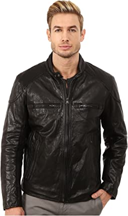 Mac Lightweight Calf Moto Jacket w/ Chest Zipper Pockets