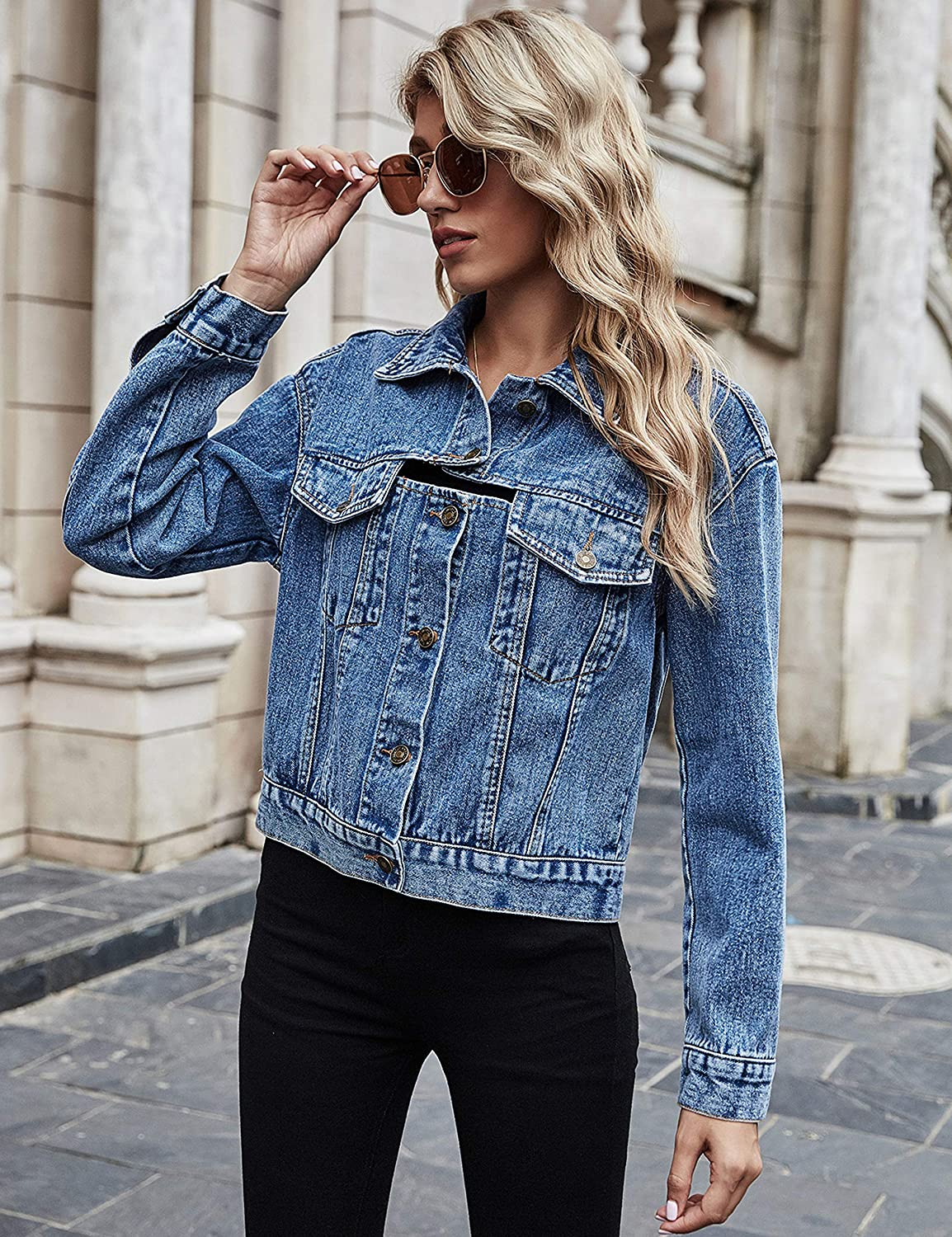 Uaneo Womens Denim Open Back Button Down Long Sleeve Casual Jean Jacket(Blue-S)