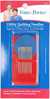 Fons & Porter 7743 Utility Quilting Hand Needles, Embroidery, Size 5 with Needle Grabber, 12-Count