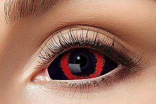 Eyecatcher 84091541-s07 Sclera contactlenzen, 1 paar, voor 6 maanden, zwart, rood, carnaval, Halloween
