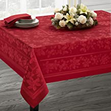 Benson Mills Holiday Elegance Engineered Jacquard Christmas Tablecloth (RED, 60
