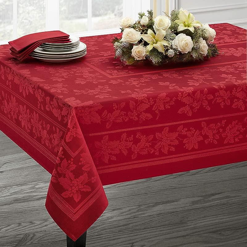 Benson Mills Holiday Elegance Engineered Jacquard Christmas Tablecloth RED 60 X 104 Rectangular