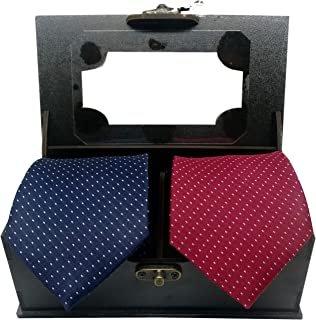Luxeis Men Premium Neck Tie Gifting Combo in wooden Box (Navy Blue, Maroon; Free Size) (Pack of 2)