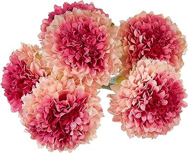 Fourwalls Artificial Synthetic Chrysanthemum Flower Bunch (6 Flowers, 30 cm Tall, Peach)