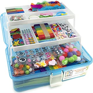 Olly Kids Craft and Art Supplies for Kids in Plastic Craft Box Organizer- Mega DIY Assorted Craft Kits for Kids: Toddlers,...