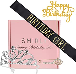 SMIRLY Happy Birthday Sash Birthday Accessories Birthday Girl Sash with Funny Saying in Gold Glitter Letters, Tiara, Pin and Cake Topper - Adult Birthday Party Accessories & Party Favors
