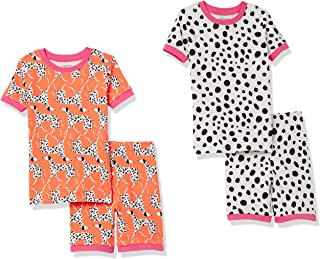Amazon Essentials Pijama de algodón de Ajuste ceñido Niñas, Pack de 4