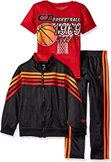 CB Sports Boys' Tricot Jacket and Pant with Graphic Print T-Shirt