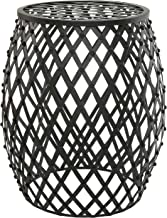 MyGift Bohemian Chic Openwork Lattice Design Black Metal Garden Stool/Decorative Accent Stand