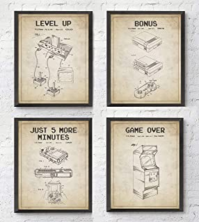 Gamer Gaming Retro Wall Art Prints with Slogans, Set of 4, Unframed, Vintage Game Room Gift, 8x10