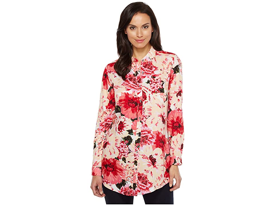 Jag Jeans Magnolia Tunic in Rayon Print (Pink Poppies) Women