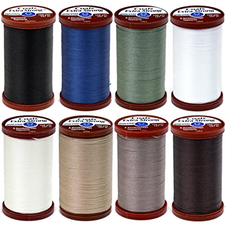 8 Color Bundle of Coats & Clark Extra Strong Upholstery Thread - 150 Yards Each (Black, White, Chona Brown, Driftwood, Green Linen, Hemp, Natural & Soldier Blue)