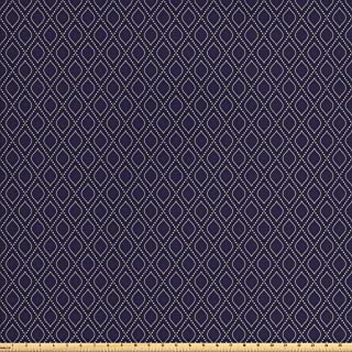 Ambesonne Navy Blue Fabric by The Yard, Geometric Dotted Pattern Design with Abstract Ogee Shapes Grid Ornament Tile, Decorative Fabric for Upholstery and Home Accents, 1 Yard, Blue Tan