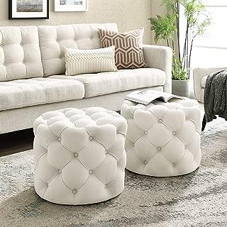Inspired Home Cream Linen Ottoman - Design: Lauren | Allover Tufted | Round | Modern Contemporary | 1 PC