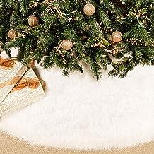 BININBOX Christmas Tree Skirt, 48 Inch Snowy White Faux Fur Xmas Plush Tree Skirt, Winter Large Christmas Tree Mat, Holida...