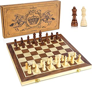 """Atmonas Chess Set, 15"""" Wooden Chess Set with Folding Board & German Knight Staunton Magnetic Chessmen (2 Extra Queens) & D..."""
