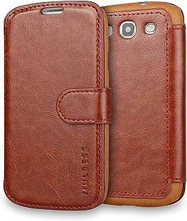 Mulbess Funda Samsung Galaxy S3 [Libro Caso Cubierta] [En Capas de Billetera Cuero] con Tapa Magnética Carcasa para Samsung Galaxy S3 / S3 Neo Case, Marrón