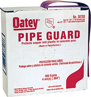 Oatey 38708 Pipe Guard Tape, 4 Mil Sleeve, Polyethylene, 1/2-Inch, 3/4-Inch, 1-Inch, Red