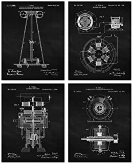 Vintage Science Tesla Patent Poster Prints, Set of 4 (8x10) Unframed Photos, Wall Art Decor Gifts Under 20 for Home, Offic...