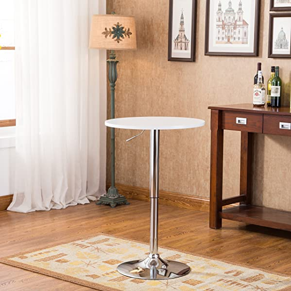 Roundhill Furniture Adjustable Height Wood And Chrome Metal Bar Table White