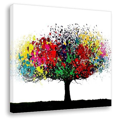 Kunstbruder Leinwandbild Bunter Baum - Light (Div. Grössen) - Kunstdruck auf Leinwand/Banksy Wandbild Streetart Bild 50x50cm