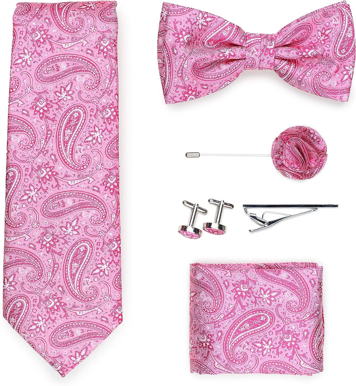 Bows-N-Ties Mens Paisley Tie Set 6 pc Paisley Design Necktie, Bow Tie, Hanky, Tie Bar, Lapel Pin, Cufflink Set