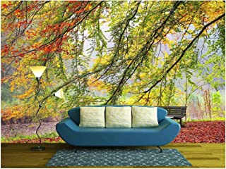 wall26 - Beautiful Autumn View of a Bench Under a Bright Colored Autumn Tree - Removable Wall Mural | Self-Adhesive Large Wallpaper - 100x144 inches