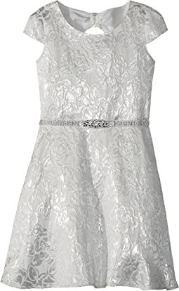 Us Angels - Cap Sleeve Bow Back Silver Brocade Dress (Big Kids)