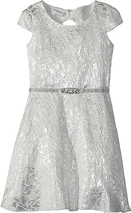 Us Angels - Cap Sleeve Bow Back Silver Brocade Dress (Big Kids)