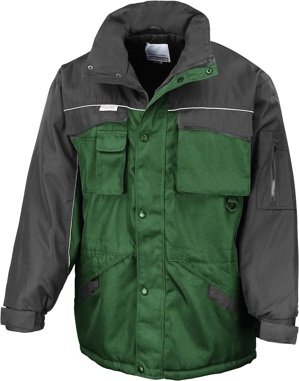 Result Mens Workwear Heavy Duty Water Repellent Windproof Combo Coat (3XL) (Bottle Green/Black)
