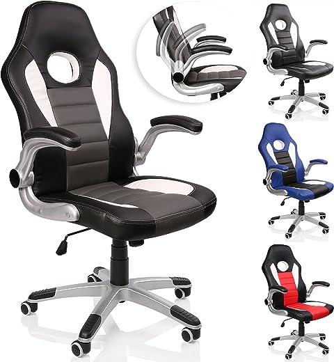 TRESKO Racing Bürostuhl Drehstuhl Chefsessel Schreibtischstuhl 4 Farbvarianten, gepolsterte und verstellbare Armlehnen, Wippmechanik, Lift SGS…