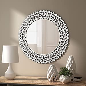 KOHROS Decorative Mirror for Wall - Unique Silver Foil with Resin Design Circle Wall Mirror for Entryways/ Living Room/ Bathroom