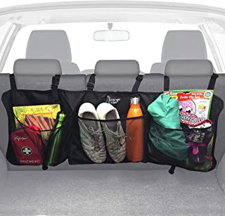 KangoKids Trunk Organizer for Car and SUV - Keep Your Trunk Tidy and Organized with Ease - Space Saving Trunk Cargo Organizer with 3 Large Mesh Pockets - Lightweight, Easy to Install Organizers.