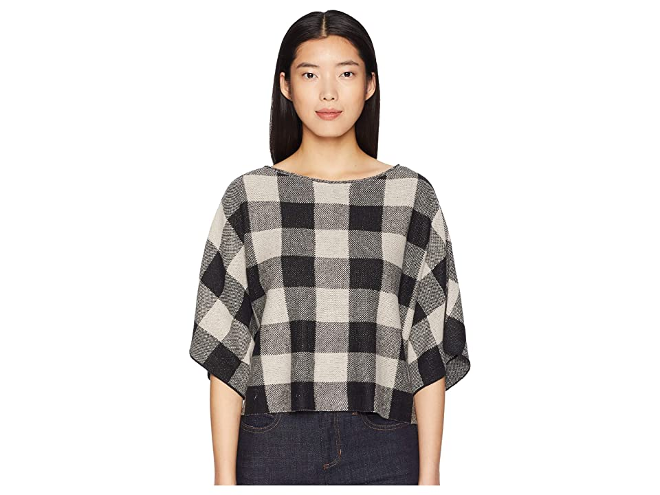 Eileen Fisher Organic Linen Knit Bateau Neck 3/4 Sleeve Top (Black) Women