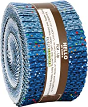 Dappled Blues Roll Up 40 2.5-inch Strips Jelly Roll Robert Kaufman Fabrics RU-924-40